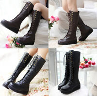 Uk2.5-8 Womens Platform Punk Gothic Military Boots Front Lace Up Knee High Boots