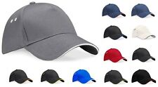 Cotton Twill 5 Panel Contrast Baseball Cap Hat with Contrast Sandwich Peak