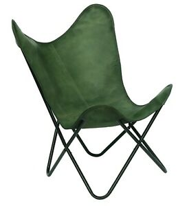Butterfly Green Leather Relaxing Chair Handmade Genuine Vintage Folding Stand