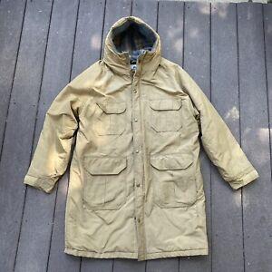 Vtg Woolrich Wool Flannel Lined Hooded Hunting Parka Jacket Coat Beige Khaki L