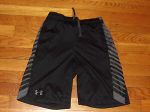 UNDER ARMOUR HEATGEAR BLACK/GRAY ATHLETIC SHORTS BOYS XL EXCELLENT CONDITION