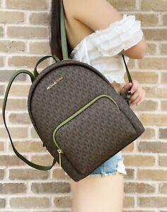 Michael Kors Erin Abbey Medium Signature MK Logo Backpack Bag Evergreen Brown