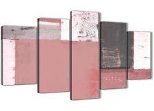 XL Blush Rosa Grigio Pittura Astratta Tela Art Print - 5 Set 160 cm Wide - 5334