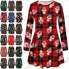 UK Mother Daughter Ladies Girls Xmas Tree Santa Gift Candy Christmas Swing Dress