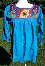 Maya Mexican Blouse Top Shirt Embroidered Semi-Sheer Chiapas Small Blue 202
