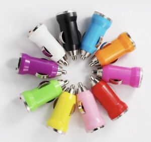 Lot 50 x Color Mini USB Car Charger Adapter for iPhone 6 5S 5 4S 4 X Samsung LG
