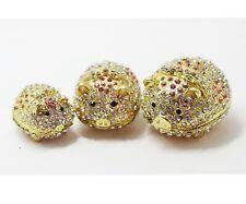 Bejeweled Enameled Animal Trinket Box/Figurine With Rhinestones-Pig Family Set