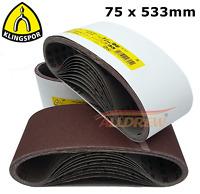 Sanding Belts 75 x 533 mm KLINGSPOR 3'' x 21'' Belt Sanders MAKITA / BOSCH etc.