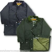 KIDS QUILTED WAX COAT 7-15 YRS WATERPROOF COUNTRY WEAR JACKET BOYS OLIVE NAVY