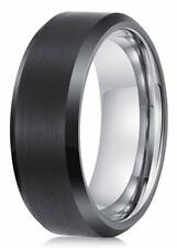 Luxe 8mm Black Tungsten Carbide Mens Wedding Ring Band Size 9 Butch Bands Alpha