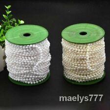 1m/5m guirlande de perle 4mm  chaîne ruban ivoire/ blanc.décoration mariage noël