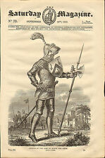 """1833 original  wood cut print of """"  armour of the time of henry the fifth  """""""