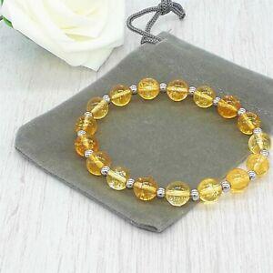 Handmade Natural 8mm Citrine Crystal Healing Gemstone Chakra Stretch Bracelet