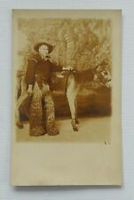 RPPC Cowboy Studio Photograph Donkey Revolver Chaps Denver CO Postcard 1920s