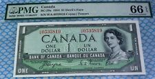 H/A  SCARCE WORLD FAMOUS DEVILS FACE BANKNOTE 1954 $1 BANK OF CANADA PMG 66