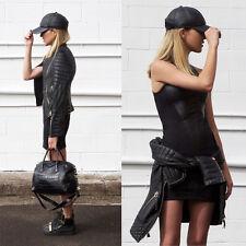 AJE sz 6 womens black Leather cut dress RRP$500+ [#3436]