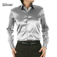 Mens Satin Silk Dress Shirt Long Sleeve Slim Business Formal Casual Tops Classic