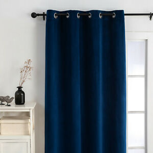 """54"""" x 96"""" Soft Velvet Solid Ready Made Drapery Curtain Panel, Lined, Navy Blue"""