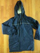 Land's End Kid's Boys Navy Blue Rain Coat Rain Jacket Size Medium 10-12 Euc