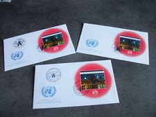 3 FDC ONU 2002 X 1 BLOC TIMBRE(VIENNE/GENEVE/NEW YORK)ONU SIDA CONNAISSANCE