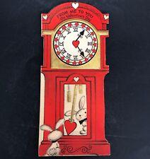 Hallmark Valentines Card Vtg 40s 50s Grandfather Grandmother Clock w Bunnies
