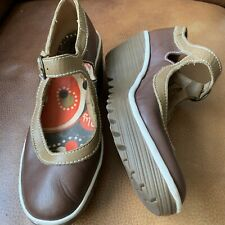 FLY OF LONDON Womans Brown Leather Shoes,wedge,size5/38.
