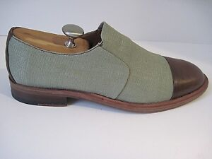 Donald J Pliner Casual Shoes Green Canvas, Leather Front Back Size 10 1/2M