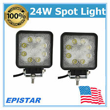 2X 24W SPOT Square LED WORK LIGHT OFFROAD UTE 4WD Driving LAMP 12V 24V 27/48W US