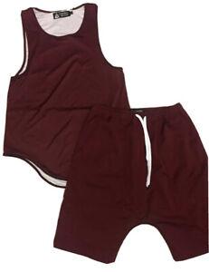 Men's Mesh Jersey Tank Top & Basketball Shorts 2pc Set Perforated Burgundy M NEW