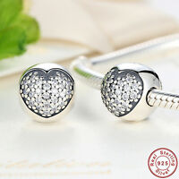 Authentic 925 Sterling Silver Charm Beads Clasp Clip with Bling Clear Crystal