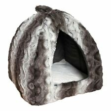 40 Winks Luxary Snuggle Plush Grey Cat Igloo Cave Bed 34x38x42cm