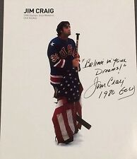 """Steiner Jim Craig Signed w/Stick & Flag 8x10 Photo w/ """"Believe in Your Dreams"""""""