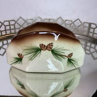 Romco Pine Cone Planter Napkin Holder Rocky Mountain Pottery Vintage #N1