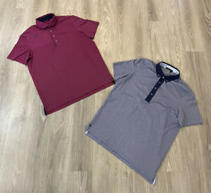 Greyson Golf Performance Polo's Lot of 2 Men's Size Large Striped