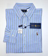 NWT Men's Ralph Lauren Oxford Knit Casual Long-Sleeve Shirt, Blue, M, Medium