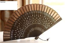 Chinese Japanese Folding Clear Hand Engraved Star Flower Bamboo Pocket Fan Brown