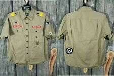 100%AUTH A BATHING APE BAPE PATCHED BOY SCOUT WORK WORLD GONE MAD BUTTON SHIRT L