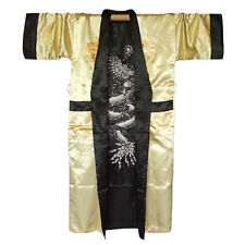 Japan Herren Satin Kimono Obi Samurai Yukata Morgenmantel Schwarz Gold M L XL