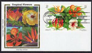 "1999 Tropical Flowers Blk/4 (Scott 3313a) - Colorano ""Silk"" FDC QD236"