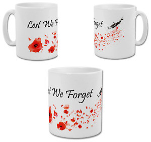 LEST WE FORGET Remembrance Anzac Day Poppy & Bomber Plane Coffee Tea Mug Cup UK