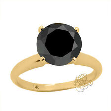 Women's 3.45CT Round AAA Black Diamond Solitaire Engagement Ring 14K Solid YG