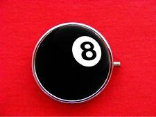 8BALL EIGHT BALL POOL BILLIARDS TRINKET STASH ROUND MINT METAL PILL BOX CASE