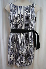 AGB Dress Sz 14 Black Grey White Combo Sleeveless Belted Waist Business Dress