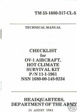 Checklist, OV-1 Aircraft Hot Climate Survival Kit