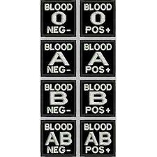 [Patch] GRUPPO SANGUIGNO BLOOD SOFTAIR ESERCITO fondo nero cm 4 x 4 ricamo -373