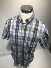 Haggar Mens Luxury Plaid Casual Shirt Blue Sz Medium