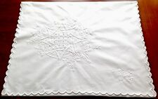 VINTAGE EMBROIDERED WHITE COTTON NIGHT DRESS CASE / STOCKINGS CUSHION COVER