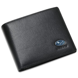 BRZ STI Black Bifold Wallet Genuine Leather with 6 Credit Card ID Holder Men Car