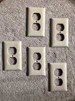 Vintage Slater Sta-Kleen Ivory Bakelite  2-Socket Outlet Cover Plate Set of 5