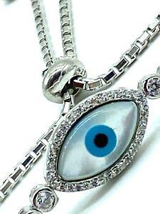 925 Sterling Silver Evil Eye Mother of Pearl Bracelet #9386